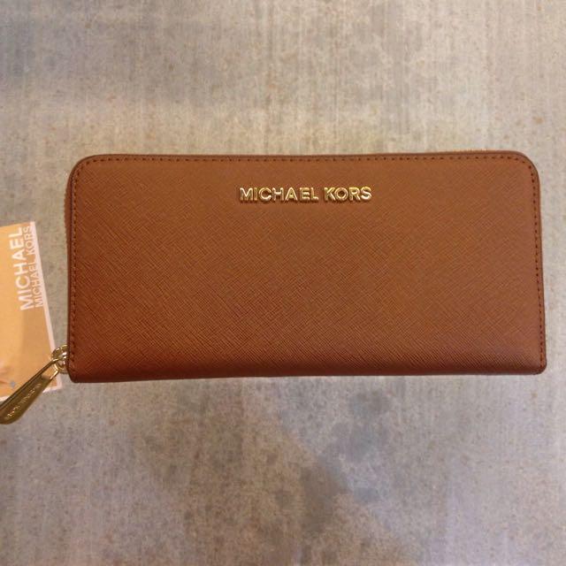 [可議價]Michael Kors 咖啡色斜紋全皮長夾