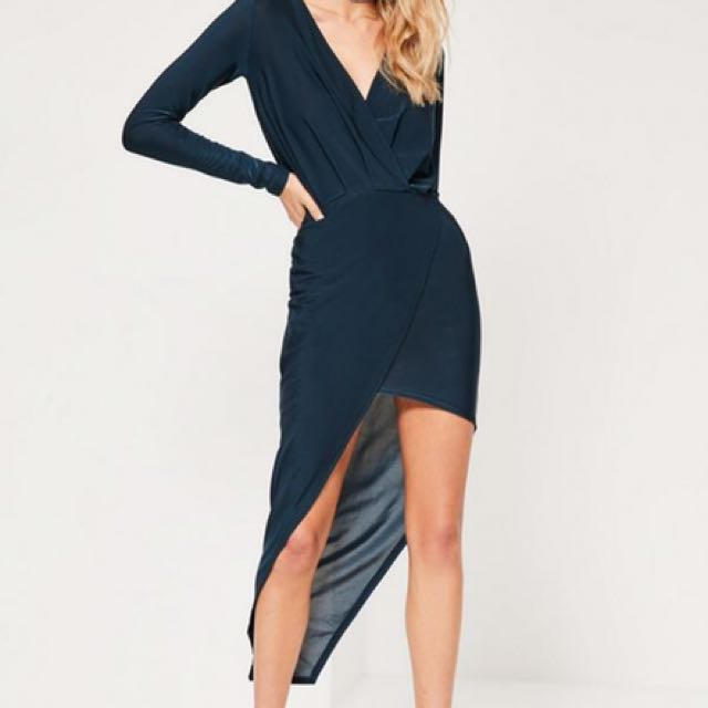Missguided Navy Long Sleeve Wrap Dress