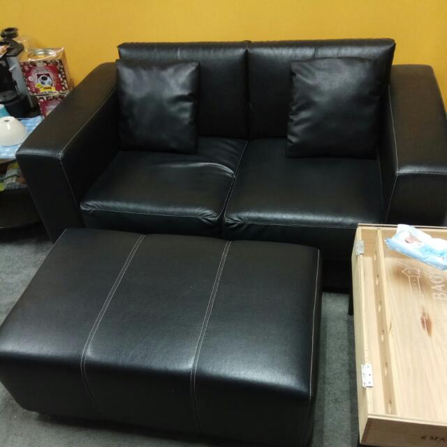 Moving Out Used Leather Sofa Set With Pillows And Ottoman Self Collection At Kaki Bukit Area Furniture Sofas On Carou