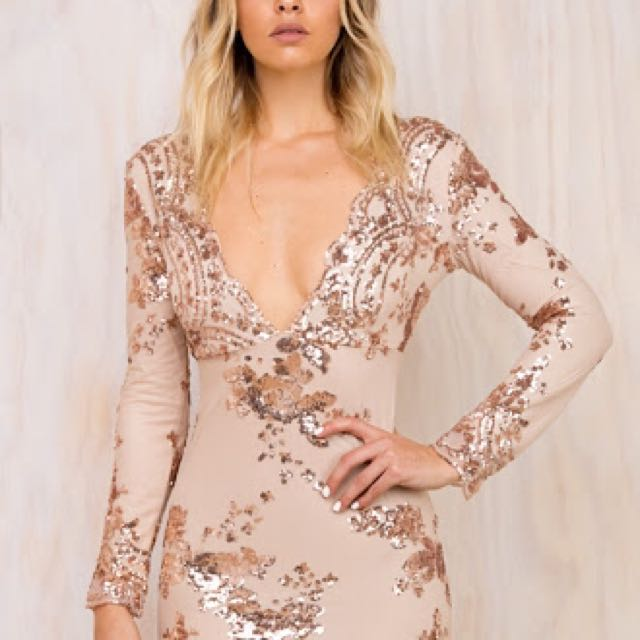NEW PRINCESS POLLY ROSE GOLD SEQUIN DRESS