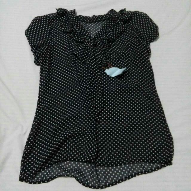 POLKA DOTTED MESH BLOUSE