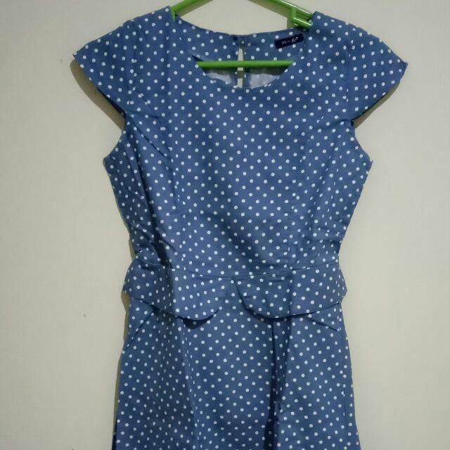 Polkadot Denim Dress