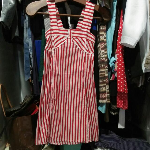 Preloved Red Striped Dress