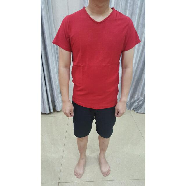 Pull N Bear Red T Shirt