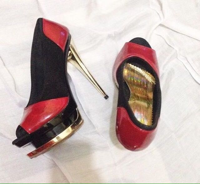 Red Gold Party Heels