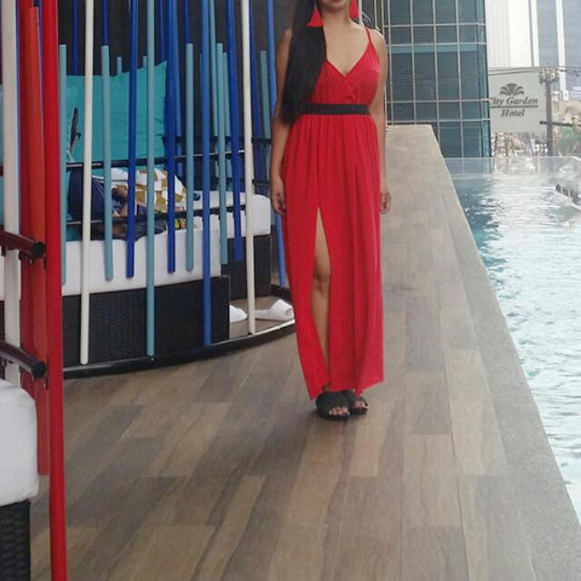 Red PLUNGE Maxi DRESS (Black Belt Not Included