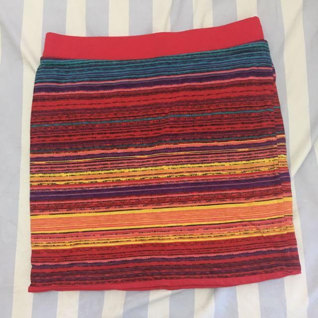 Reversible Red/printed Bandage Skirt