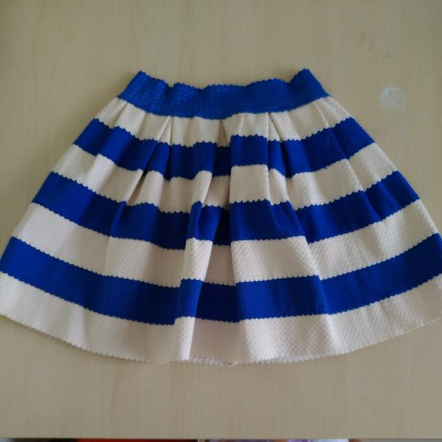 Rok Flare Stripe Putih Biru