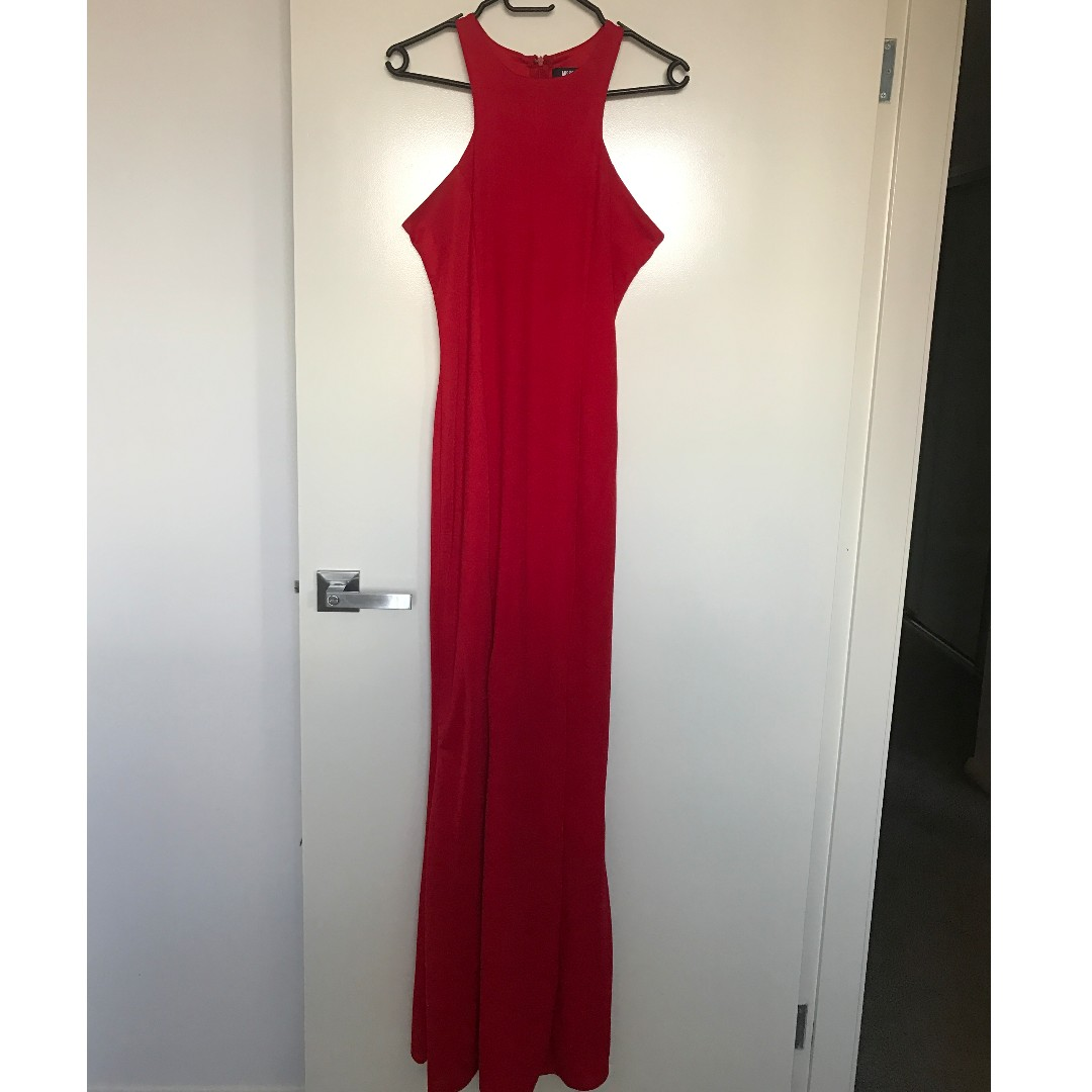 Ruby Red Razor Neck Formal Gown