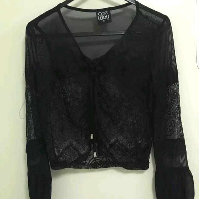 Sheer Size 6 One way Top Long Sleeve