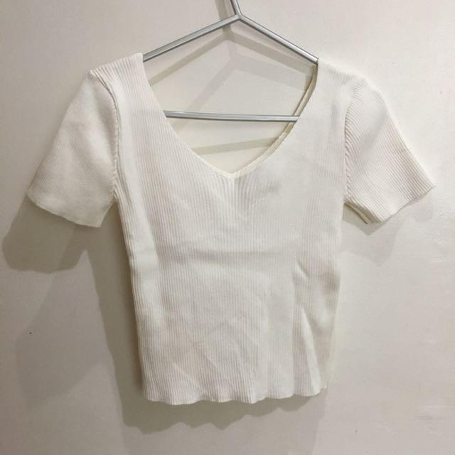 Shopcopper Ribbed V-neck Top In White