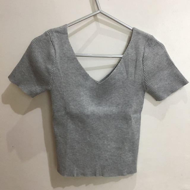 Shopcopper Ribbed V-neck Top In Gray