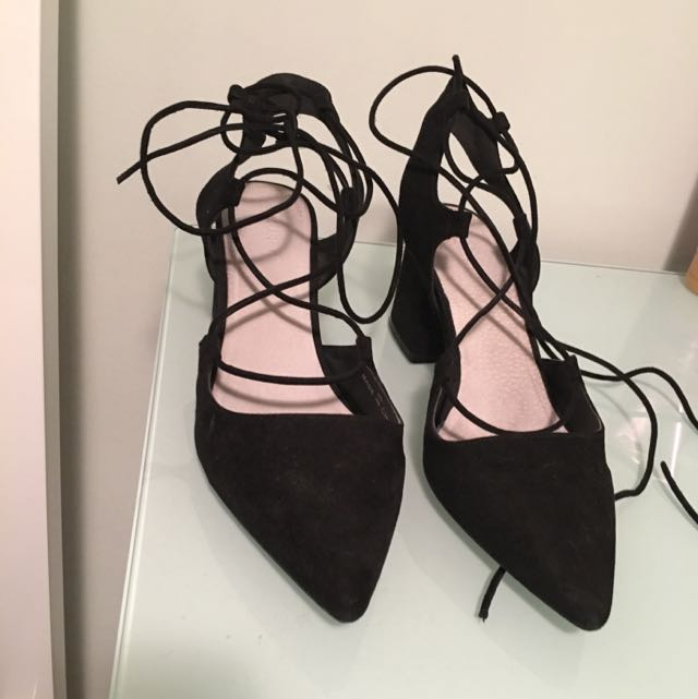 Shu Bar Black Tie Up Heels