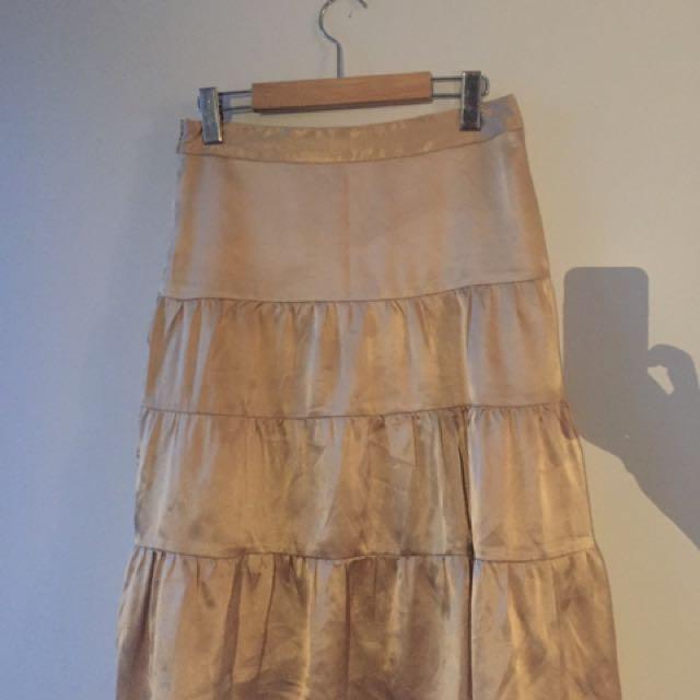 Silk Skirt in Gold