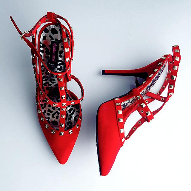 Size 8 Red Dollhouse Heels With Gold Studs