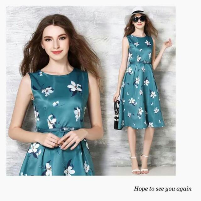 Free SF Sleeveless Floral Dress W/ Belt