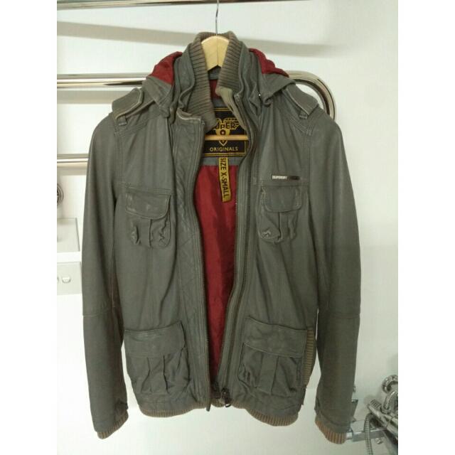 Superdry Leather Jacket XS