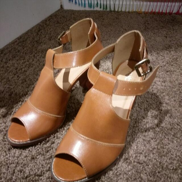Tan Faux-leather Cut Out Heels
