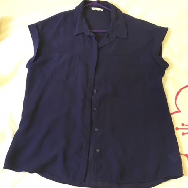 Target Navy Boxy Blouse Short Sleeved size 14