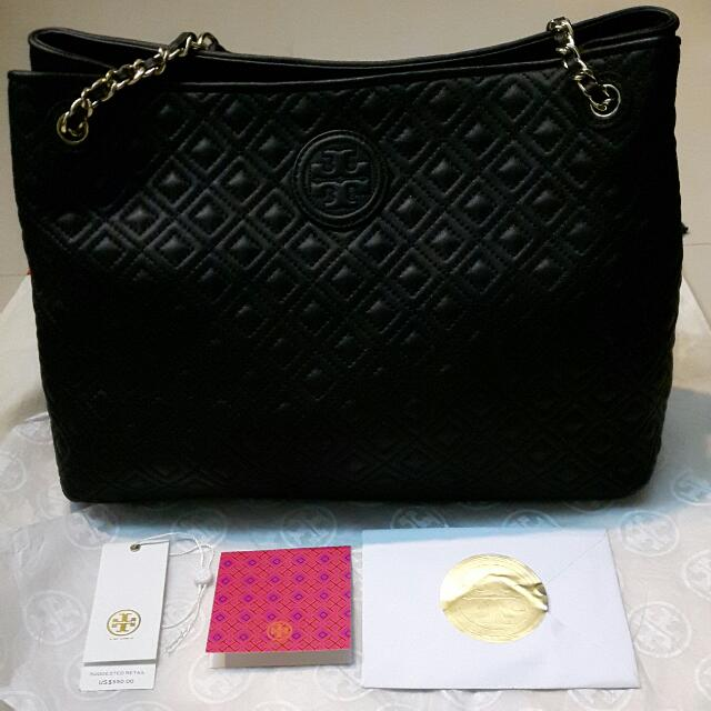 Tory Burch Marion Quilted Chain Shoulder Slouchy Tote Luxury Bags