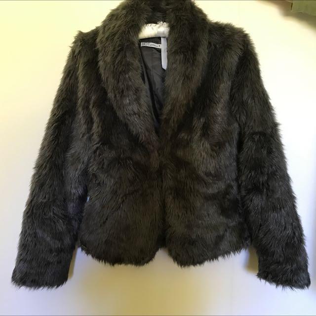 Vintage Grey Faux Fur Women's Coat Size 8