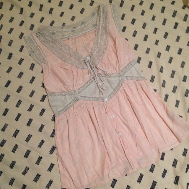 Vintage Pink And Lace Camisole Size 10