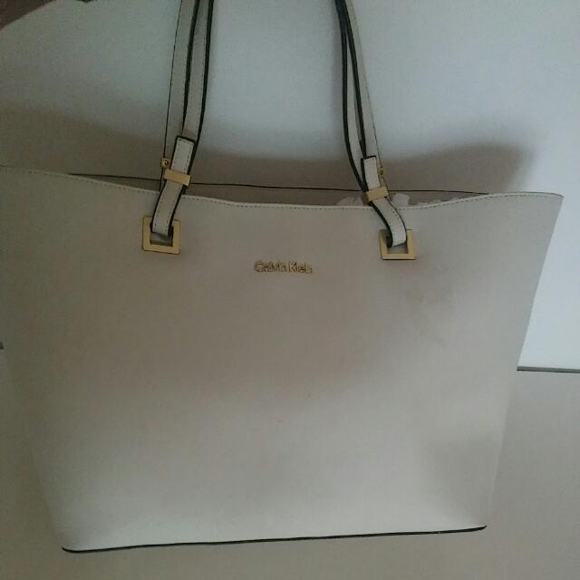 white Calvin klein purse