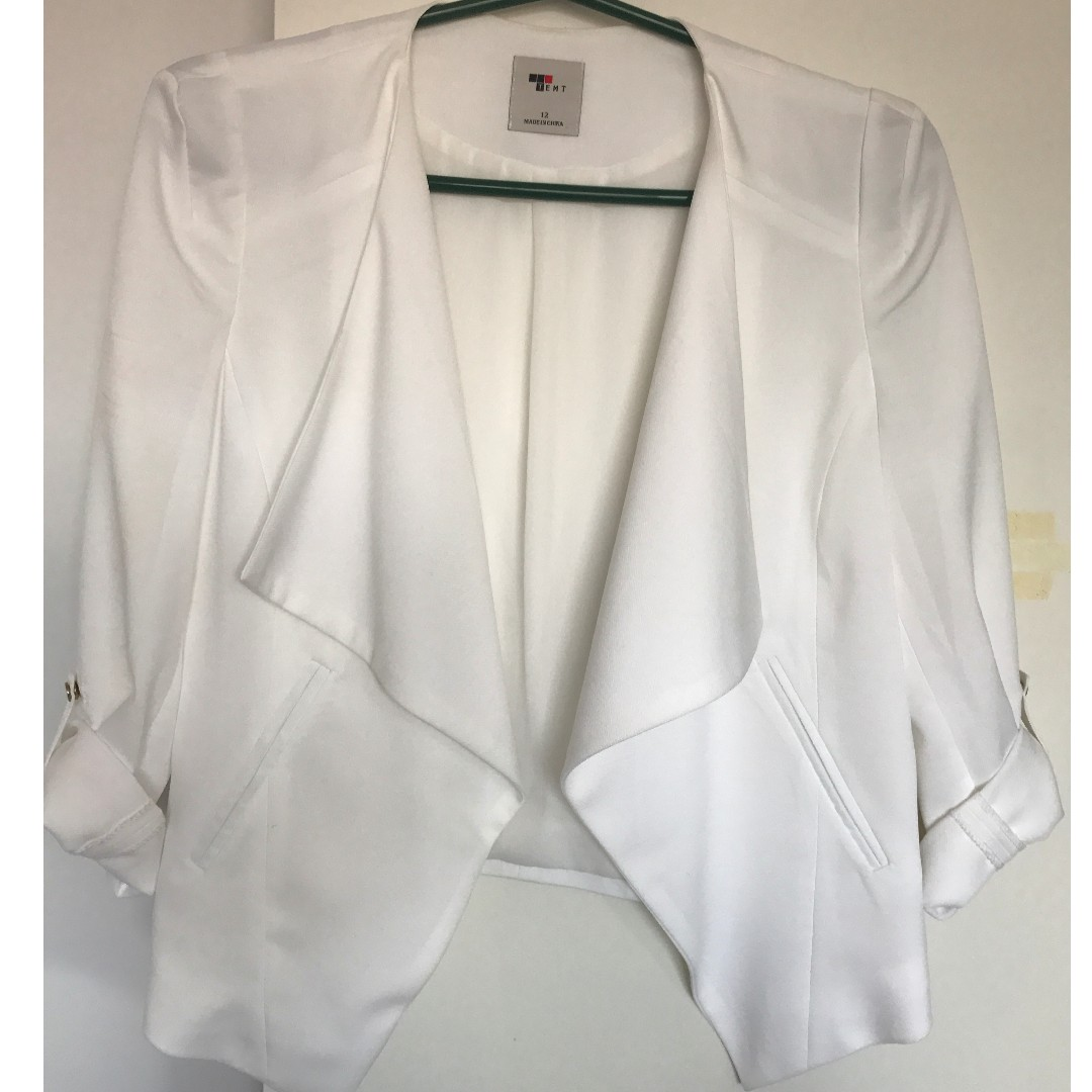 White Cropped Blazer