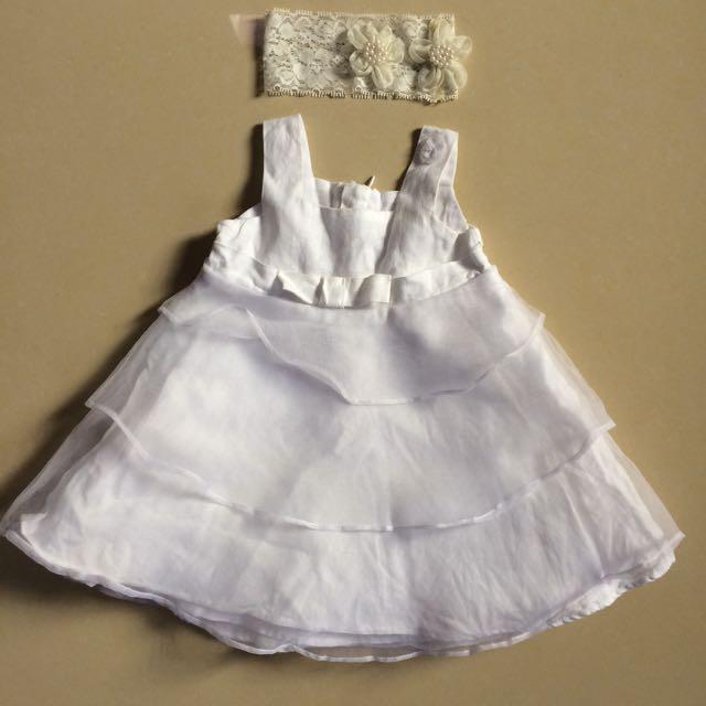 White Dress Baby Girl - Dress Putih Baby Girl + Bandana