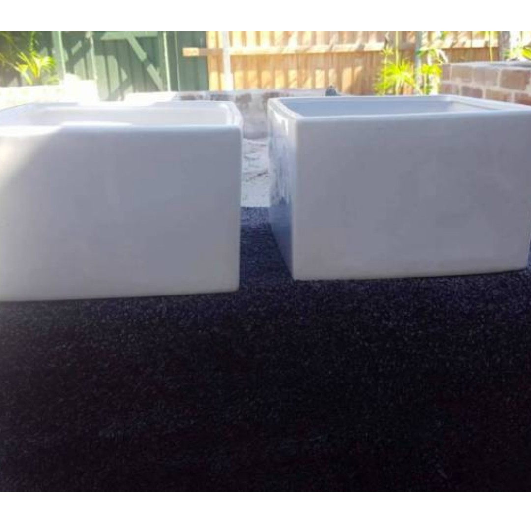 x2 White Square Florist Flower Pots