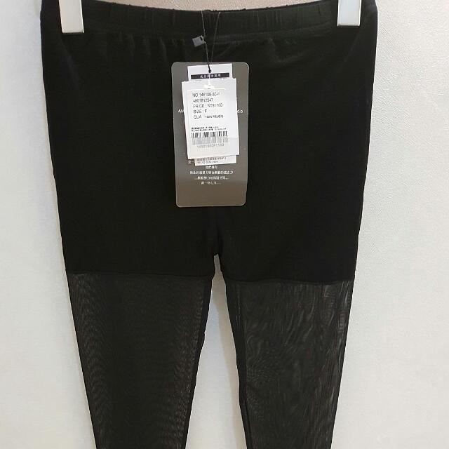 全新YEN TWU AMULETTE專櫃品牌 黑色鬆緊腰頭內搭褲
