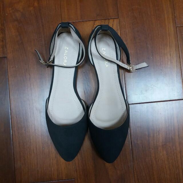 Zalora 黑色繞踝平底鞋 #五百元好女鞋