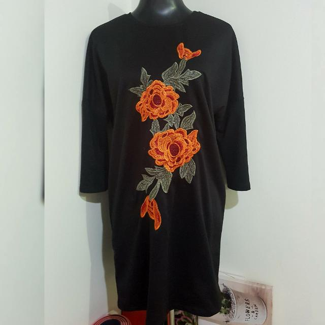(RES) ZARA longsleeved shirt dress with rose patch