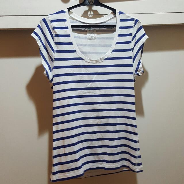 Zara TRF Fitted Blue Striped Shirt