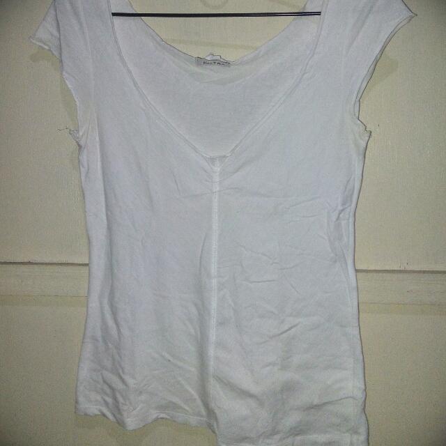 Zara V Neck White Top S