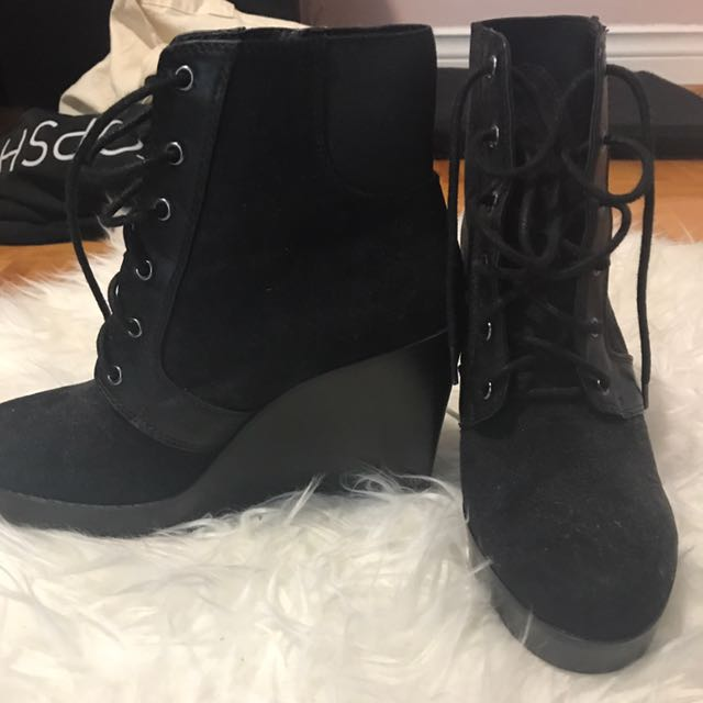 Zara Wedge Lace Up Booties