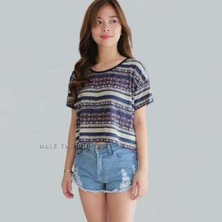 HTP Blue/Cream Printed Basic Croptop