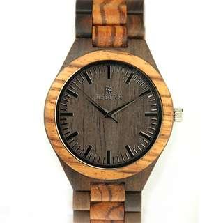 Redear Milan Chain Link Series Ebony & Zebra Wood Wooden Watch