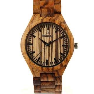 Redear Milan Chain Link Series Zebra Wood Wooden Watch