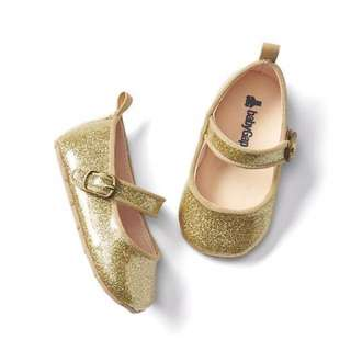 Baby Gap Gold glitter ballet girl shoes size 6-12 M
