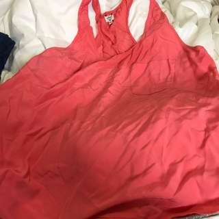 Aritzia Wilfred Pink Racer Back Silk Tank Size Large