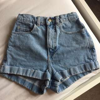 American Apparel Size 24 High Waisted Denim Shorts