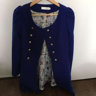 Wool Double Breasted Royal Blue Jacket With Pockets