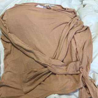 Oak And Fort Peach Lon Sleeve Top Size Medium