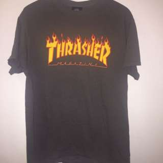 THRASHER Gray Flame Tee