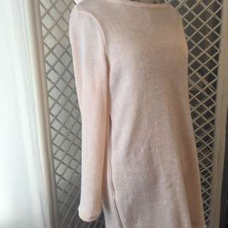 Sm/ Med. Light Pink Sweater Dress With Side Zippers