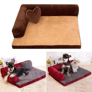 Pet Sofa/Couch Bed For Dogs And Cats With Heart Pillow Cushion