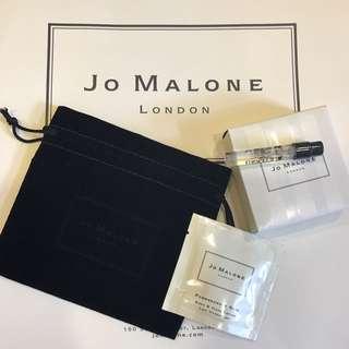 Jo Malone 紅玫瑰 限量 試管 小香+黑石榴潤膚乳+絨布飾品束口袋