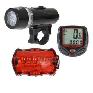 Bicycle Speedometer + 5 Led Mountain Bike Head + Rear Lamp