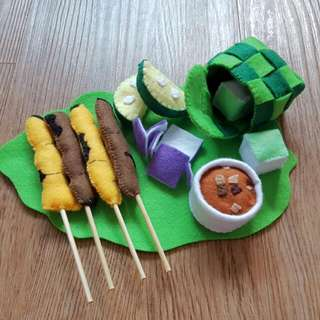 Pretend Play Felt Food- Local food for Malay Satay Set (Made-to-order)